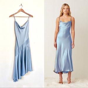 Satin Asymmetrical Cowl Slip Dress